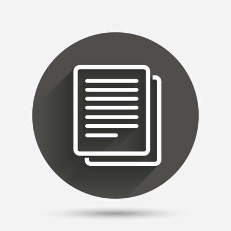 duplicate: Copy file sign icon. Duplicate document symbol. Circle flat button with shadow. Vector