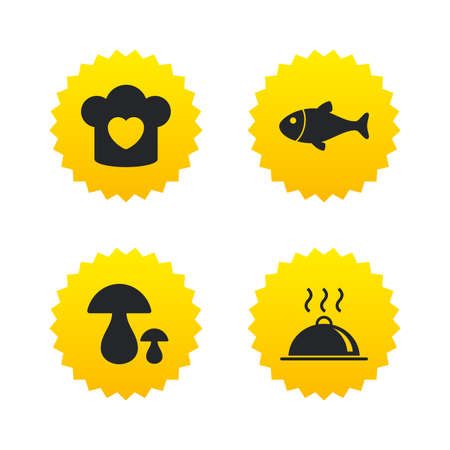 button mushroom: Chief hat with heart and cooking pan icons. Fish and boletus mushrooms signs. Hot food platter serving symbol. Yellow stars labels with flat icons. Vector