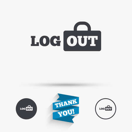 lock out: Logout sign icon. Sign out symbol. Lock icon. Flat icons. Buttons with icons. Thank you ribbon. Vector Illustration