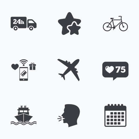 counter service: Cargo truck and shipping icons. Shipping and eco bicycle delivery signs. Transport symbols. 24h service. Flat talking head, calendar icons. Stars, like counter icons. Vector