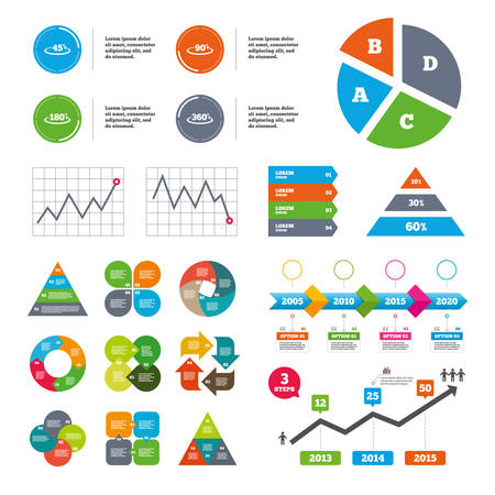 Data Pie Chart And Graphs Angle 30 135 Degrees Icons Geometry