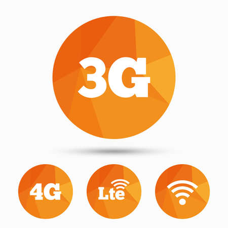 4g: Mobile telecommunications icons. 3G, 4G and LTE technology symbols. Wifi Wireless and Long-Term evolution signs. Triangular low poly buttons with shadow. Vector