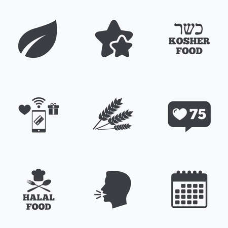 kosher: Natural food icons. Halal and Kosher signs. Gluten free. Chief hat with fork and spoon symbol. Flat talking head, calendar icons. Stars, like counter icons. Vector Illustration