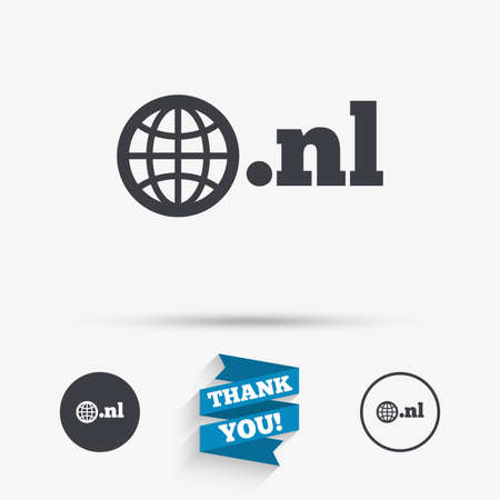 nl: Domain NL sign icon. Top-level internet domain symbol with globe. Flat icons. Buttons with icons. Thank you ribbon. Vector Illustration