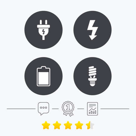 energy ranking: Electric plug icon. Fluorescent lamp and battery symbols. Low electricity and idea signs. Chat, award medal and report linear icons. Star vote ranking. Vector Illustration
