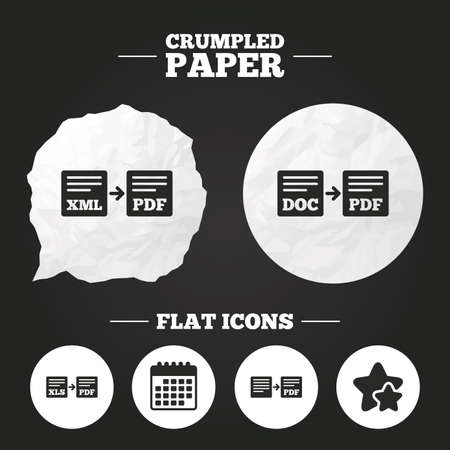 Crumpled paper speech bubble. Export file icons. Convert DOC to PDF, XML to PDF symbols. XLS to PDF with arrow sign. Paper button. Vector