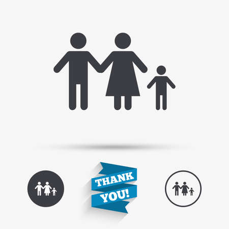 family with one child: Family with one child sign icon. Complete family symbol. Flat icons. Buttons with icons. Thank you ribbon. Vector