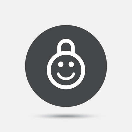 child protection: Child lock icon. Locker with smile symbol. Child protection. Circle flat button with shadow. Vector Illustration