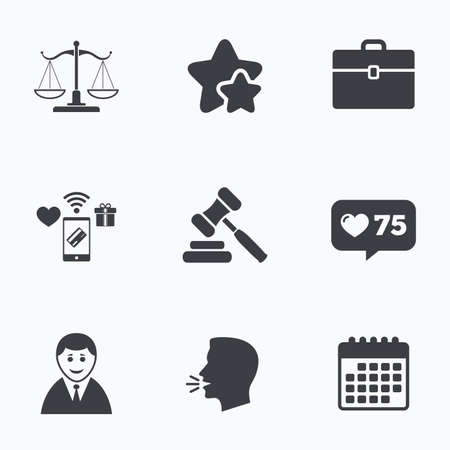 hammer head: Scales of Justice icon. Client or Lawyer symbol. Auction hammer sign. Law judge gavel. Court of law. Flat talking head, calendar icons. Stars, like counter icons. Vector