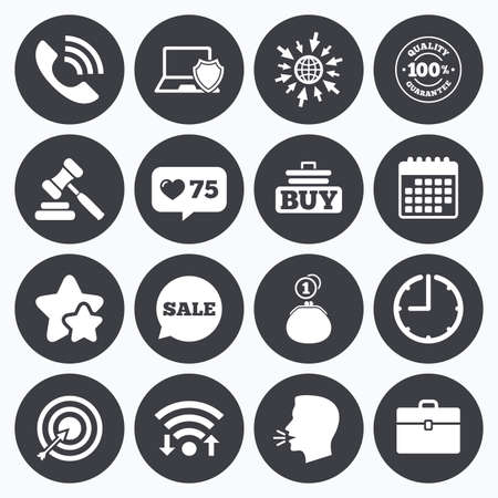 e auction: Calendar, wifi and clock symbols. Like counter, stars symbols. Online shopping, e-commerce and business icons. Auction, phone call and sale signs. Cash money, case and target symbols. Talking head, go to web symbols. Vector