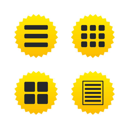 thumbnails: List menu icons. Content view options symbols. Thumbnails grid or Gallery view. Yellow stars labels with flat icons. Vector