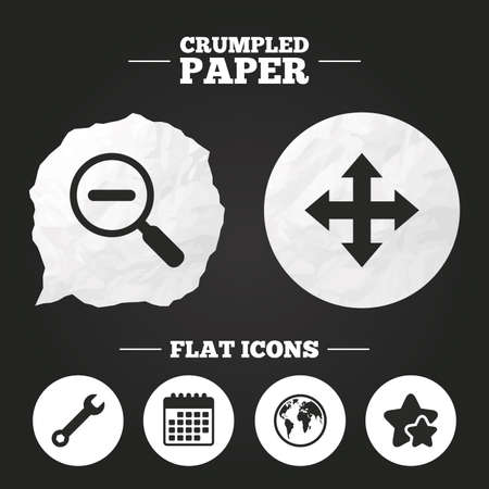 fullscreen: Crumpled paper speech bubble. Magnifier glass and globe search icons. Fullscreen arrows and wrench key repair sign symbols. Paper button. Vector