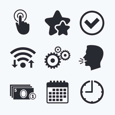 favorite number: ATM cash machine withdrawal icons. Click here, check PIN number, processing and cash withdrawal symbols. Wifi internet, favorite stars, calendar and clock. Talking head. Vector