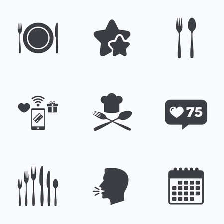 dessert fork: Plate dish with forks and knifes icons. Chief hat sign. Crosswise cutlery symbol. Dessert fork. Flat talking head, calendar icons. Stars, like counter icons. Vector Illustration