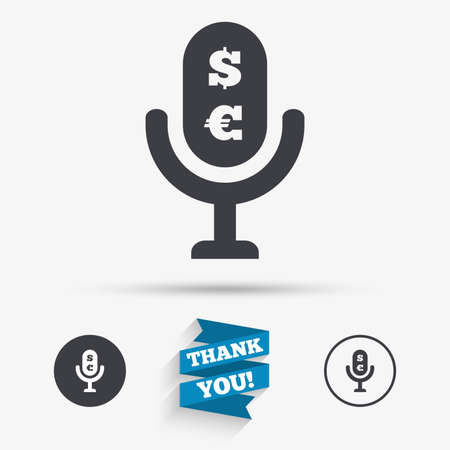 usr: Microphone icon. Speaker symbol. Paid music sign. Flat icons. Buttons with icons. Thank you ribbon. Vector