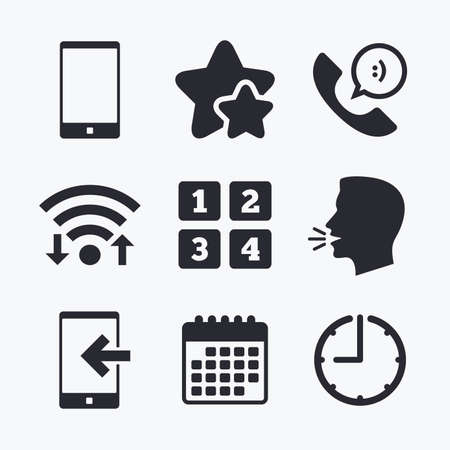 head support: Phone icons. Smartphone incoming call sign. Call center support symbol. Cellphone keyboard symbol. Wifi internet, favorite stars, calendar and clock. Talking head. Vector