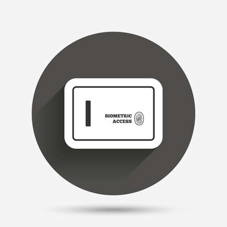 biometric: Safe sign icon. Deposit lock symbol. Biometric access by fingerprint. Circle flat button with shadow. Vector