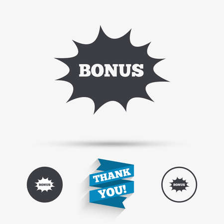 you are special: Bonus sign icon. Special offer explosion cartoon bubble symbol. Flat icons. Buttons with icons. Thank you ribbon. Vector Illustration