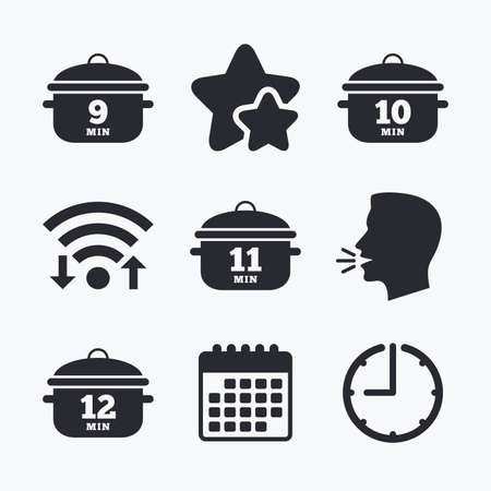 10 12: Cooking pan icons. Boil 9, 10, 11 and 12 minutes signs. Stew food symbol. Wifi internet, favorite stars, calendar and clock. Talking head. Vector