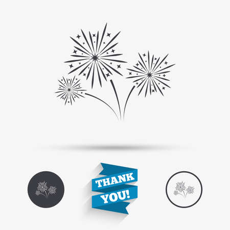 fireworks show: Fireworks sign icon. Explosive pyrotechnic show symbol. Flat icons. Buttons with icons. Thank you ribbon. Vector