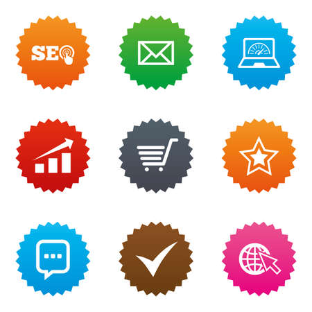 bandwidth: Internet, seo icons. Tick, online shopping and chart signs. Bandwidth, mobile device and chat symbols. Stars label button with flat icons. Vector