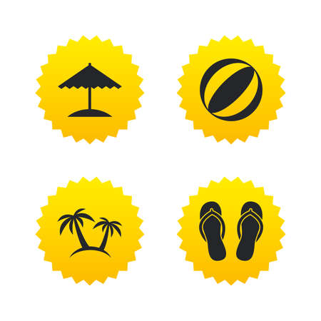 Beach holidays icons. Ball, umbrella and flip-flops sandals signs. Palm trees symbol. Yellow stars labels with flat icons. Vector