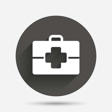 medical case: Medical case sign icon. Doctor symbol. Circle flat button with shadow. Vector Illustration