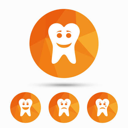 triangular eyes: Tooth smile face icons. Happy, sad, cry signs. Happy smiley chat symbol. Sadness depression and crying signs. Triangular low poly buttons with shadow. Vector