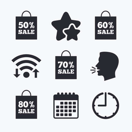 50 to 60: Sale bag tag icons. Discount special offer symbols. 50%, 60%, 70% and 80% percent sale signs. Wifi internet, favorite stars, calendar and clock. Talking head. Vector
