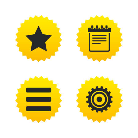 yellow notepad: Star favorite and menu list icons. Notepad and cogwheel gear sign symbols. Yellow stars labels with flat icons. Vector