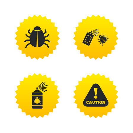 acarus: Bug disinfection icons. Caution attention symbol. Insect fumigation spray sign. Yellow stars labels with flat icons. Vector