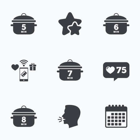 stew: Cooking pan icons. Boil 5, 6, 7 and 8 minutes signs. Stew food symbol. Flat talking head, calendar icons. Stars, like counter icons. Vector