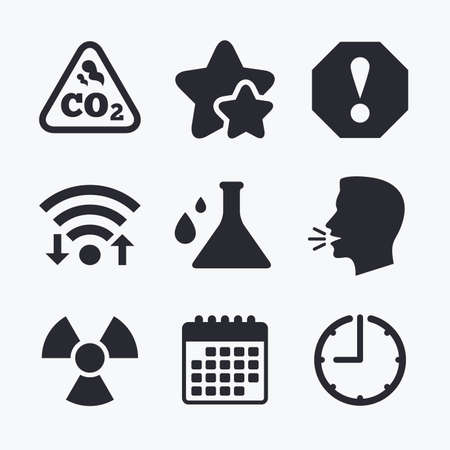danger carbon dioxide  co2  labels: Attention and radiation icons. Chemistry flask sign. CO2 carbon dioxide symbol. Wifi internet, favorite stars, calendar and clock. Talking head. Vector
