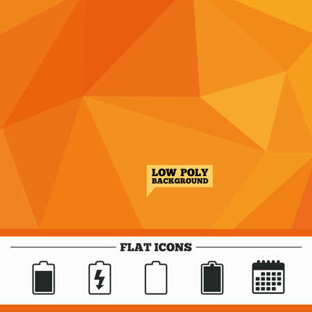 electrochemical: Triangular low poly orange background. Battery charging icons. Electricity signs symbols. Charge levels: full, empty. Calendar flat icon. Vector Illustration