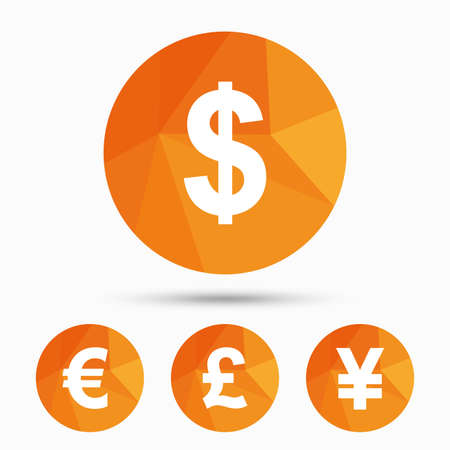 Dollar, Euro, Pound and Yen currency icons. USD, EUR, GBP and JPY money sign symbols. Triangular low poly buttons with shadow. Vector Illustration
