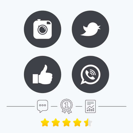 medal like: Hipster photo camera icon. Like and Call speech bubble sign. Bird symbol. Social media icons. Chat, award medal and report linear icons. Star vote ranking. Vector