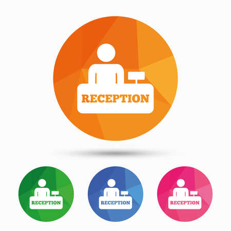 reception table: Reception sign icon. Hotel registration table with administrator symbol. Triangular low poly button with flat icon. Vector