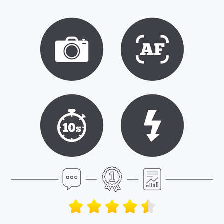 autofocus: Photo camera icon. Flash light and autofocus AF symbols. Stopwatch timer 10 seconds sign. Chat, award medal and report linear icons. Star vote ranking. Vector Illustration
