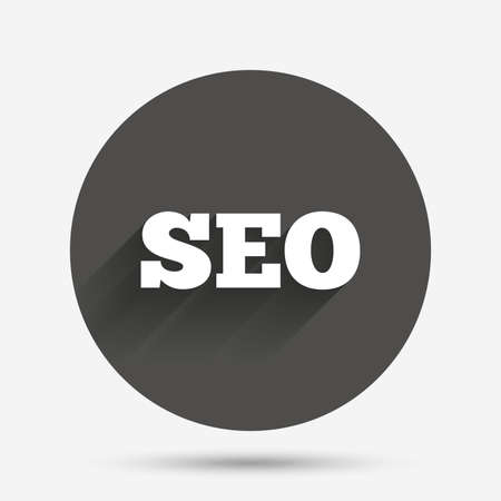 meta analysis: SEO sign icon. Search Engine Optimization symbol. Circle flat button with shadow. Vector Illustration