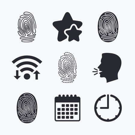 dabs: Fingerprint icons. Identification or authentication symbols. Biometric human dabs signs. Wifi internet, favorite stars, calendar and clock. Talking head. Vector