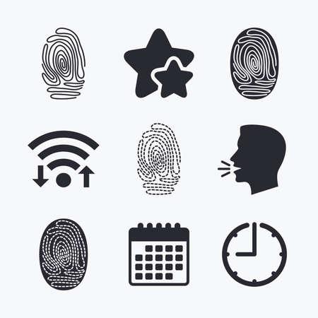 biometric: Fingerprint icons. Identification or authentication symbols. Biometric human dabs signs. Wifi internet, favorite stars, calendar and clock. Talking head. Vector