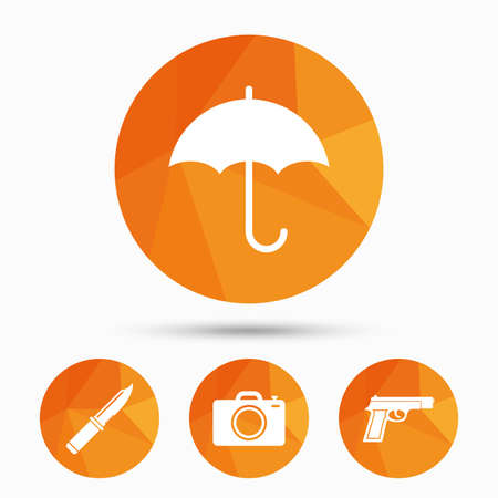 Gun weapon icon.Knife, umbrella and photo camera signs. Edged hunting equipment. Prohibition objects. Triangular low poly buttons with shadow. Vector