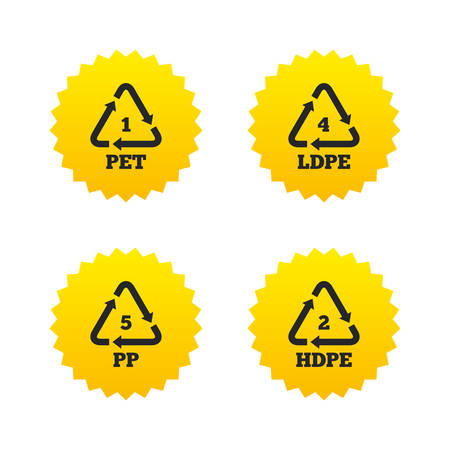 PET 1, Ld-pe 4, PP 5 and Hd-pe 2 icons. High-density Polyethylene terephthalate sign. Recycling symbol. Yellow stars labels with flat icons. Vector Illustration