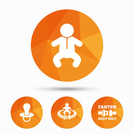 Baby infants icons. Toddler boy with diapers symbol. Fasten seat belt signs. Child pacifier and pram stroller. Triangular low poly buttons with shadow. Vector