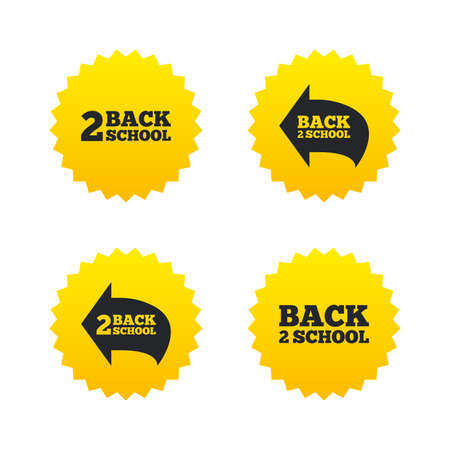 yellow star: Back to school icons. Studies after the holidays signs symbols. Yellow stars labels with flat icons. Vector