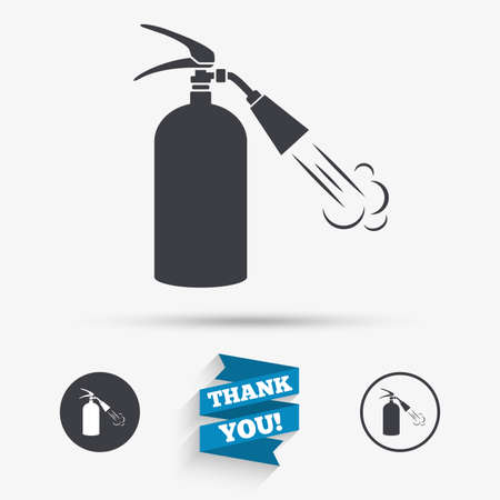 fire extinguisher sign: Fire extinguisher sign icon. Fire safety symbol. Flat icons. Buttons with icons. Thank you ribbon. Vector