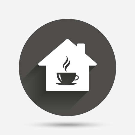 Coffee shop icon. Hot coffee cup sign. Hot tea drink with steam. Circle flat button with shadow. Vector