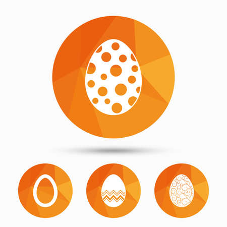pasch: Easter eggs icons. Circles and floral patterns symbols. Tradition Pasch signs. Triangular low poly buttons with shadow. Vector