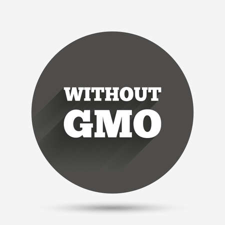modified: No GMO sign icon. Without Genetically modified food. Stop GMO. Circle flat button with shadow. Vector