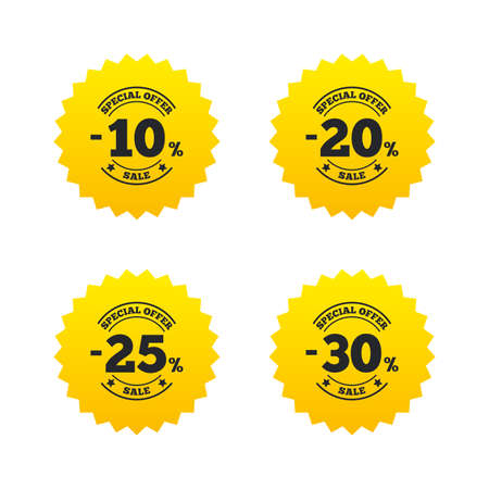 Sale discount icons. Special offer stamp price signs. 10, 20, 25 and 30 percent off reduction symbols. Yellow stars labels with flat icons. Vector Illustration